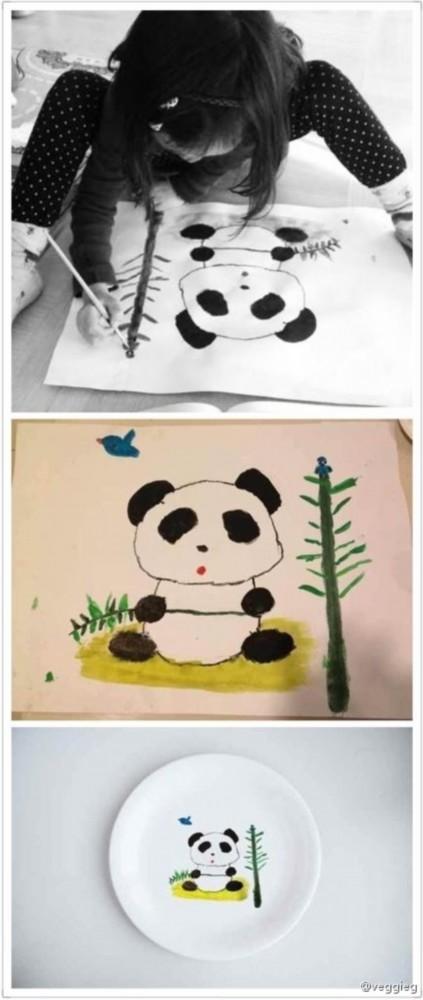 盘子画图片简笔画-王菲晒女儿坐地画熊猫照 网友 好优雅的姿势图片